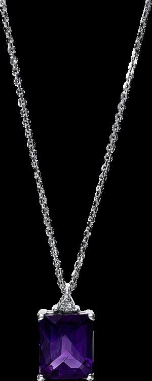 Halskette mit Anhänger Brogle Selection Felicity aus 585 Weißgold mit 1 Diamant (0,06 Karat) und 1 Amethyst