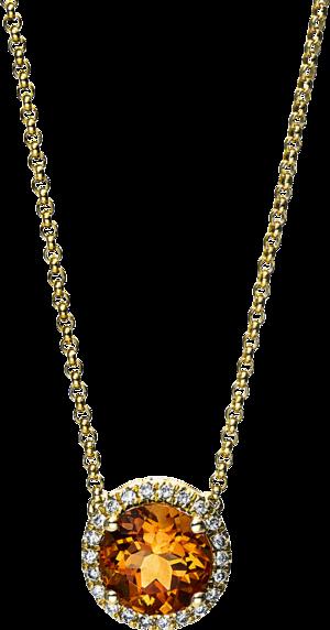 Halskette mit Anhänger Brogle Selection Felicity aus 750 Gelbgold mit 22 Brillanten (0,1 Karat) und 1 Citrin