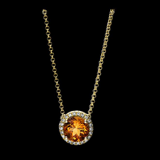 Halskette mit Anhänger Brogle Selection Felicity aus 750 Gelbgold mit 22 Brillanten (0,1 Karat) und 1 Citrin bei Brogle