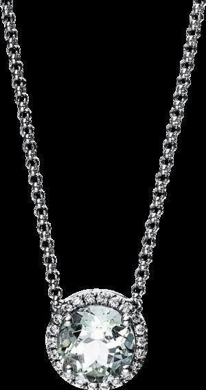 Halskette mit Anhänger Brogle Selection Felicity aus 750 Weißgold mit 22 Brillanten (0,1 Karat) und 1 Amethyst