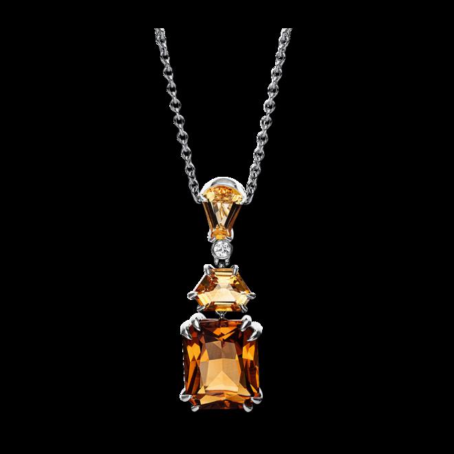 Halskette mit Anhänger Brogle Selection Felicity aus 750 Weißgold mit 1 Brillant (0,03 Karat) und mehreren Edelsteinen bei Brogle