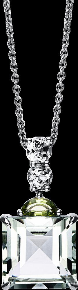 Halskette mit Anhänger Brogle Selection Felicity aus 750 Weißgold mit mehreren Edelsteinen