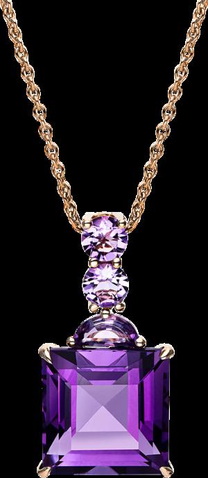 Halskette mit Anhänger Brogle Selection Felicity aus 750 Roségold mit mehreren Edelsteinen