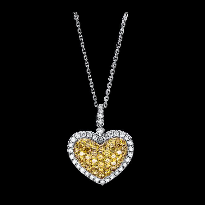 Halskette mit Anhänger Brogle Selection Felicity Herz aus 585 Weißgold und 585 Gelbgold mit 80 Brillanten (1,33 Karat) bei Brogle
