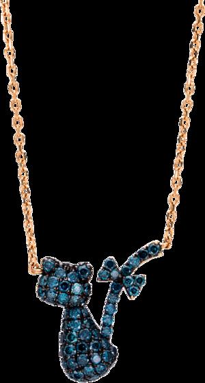 Halskette mit Anhänger Brogle Selection Felicity Katze aus 750 Roségold mit 60 Brillanten (0,57 Karat)