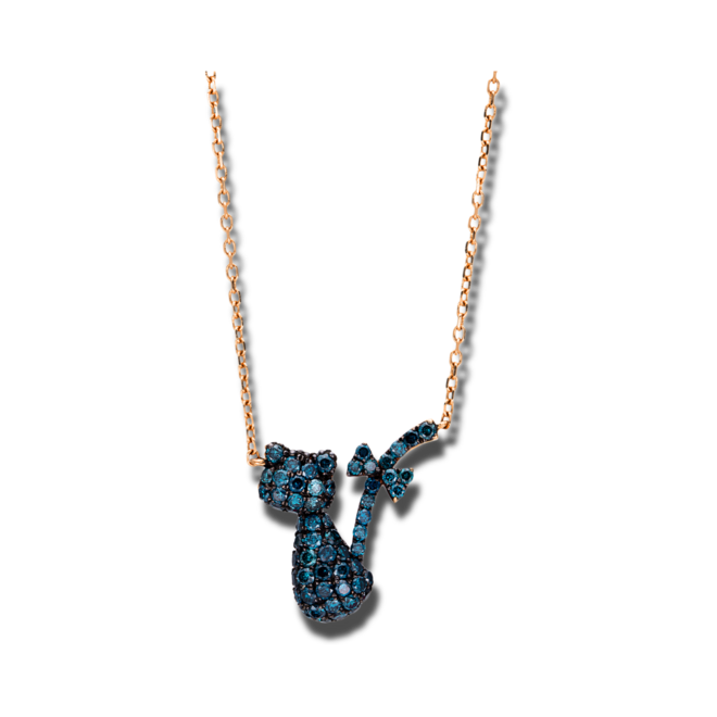Halskette mit Anhänger Brogle Selection Felicity Katze aus 750 Roségold mit 60 Brillanten (0,57 Karat) bei Brogle