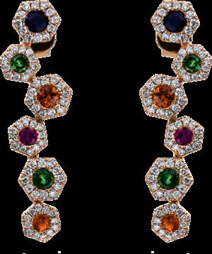 Ohrhänger Brogle Selection Felicity aus 750 Roségold mit 144 Brillanten (2 x 0,225 Karat) und mehreren Edelsteinen