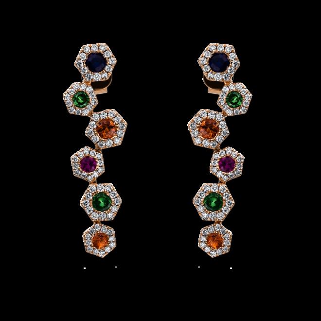 Ohrhänger Brogle Selection Felicity aus 750 Roségold mit 144 Brillanten (2 x 0,225 Karat) und mehreren Edelsteinen bei Brogle