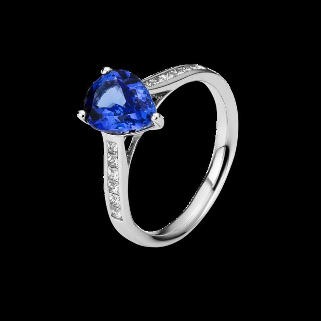Ring Brogle Selection Felicity aus 750 Weißgold mit 12 Diamanten (0,31 Karat) und 1 Tansanit bei Brogle