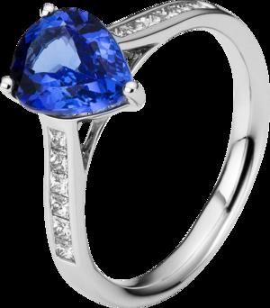 Ring Brogle Selection Felicity aus 750 Weißgold mit 12 Diamanten (0,31 Karat) und 1 Tansanit