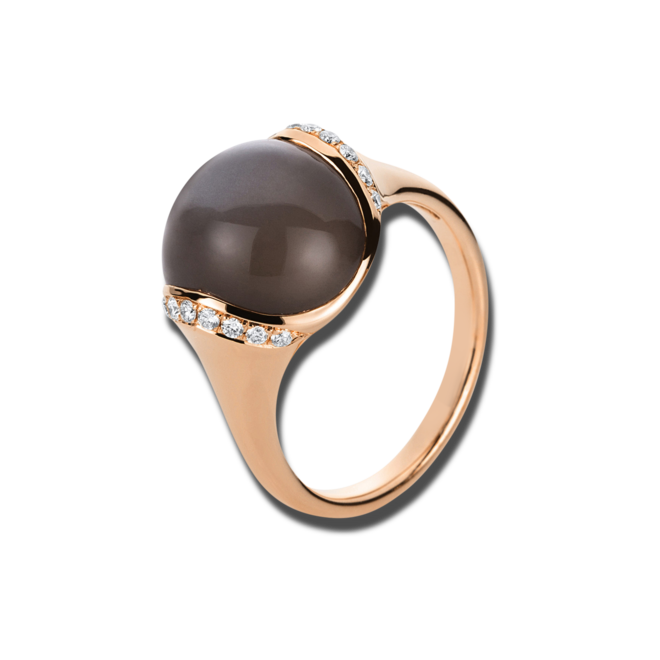 Ring Brogle Selection Felicity aus 750 Roségold mit 18 Brillanten (0,16 Karat) und 1 Mondstein bei Brogle