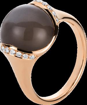 Ring Brogle Selection Felicity aus 750 Roségold mit 18 Brillanten (0,16 Karat) und 1 Mondstein