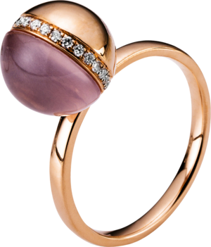Ring Brogle Selection Felicity aus 750 Roségold mit 23 Brillanten (0,13 Karat) und 1 Rosenquarz