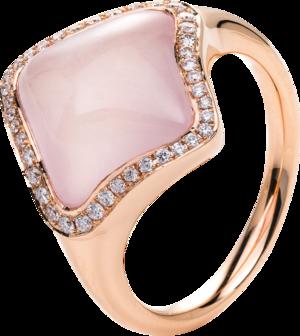 Ring Brogle Selection Felicity aus 750 Roségold mit 40 Brillanten (0,2 Karat) und 1 Rosenquarz