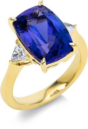 Ring Brogle Selection Felicity aus 750 Gelbgold mit 2 Diamanten (0,38 Karat) und 1 Tansanit