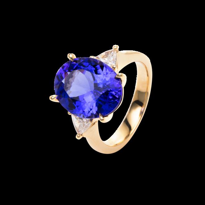 Ring Brogle Selection Felicity aus 750 Gelbgold mit 2 Diamanten (0,47 Karat) und 1 Tansanit bei Brogle