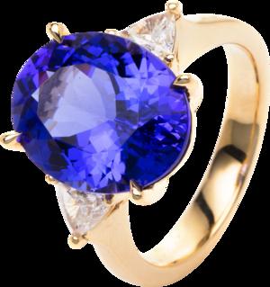 Ring Brogle Selection Felicity aus 750 Gelbgold mit 2 Diamanten (0,47 Karat) und 1 Tansanit