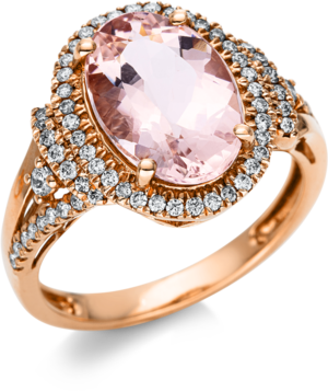 Ring Brogle Selection Felicity aus 585 Roségold mit 70 Brillanten (0,41 Karat) und 1 Morganit