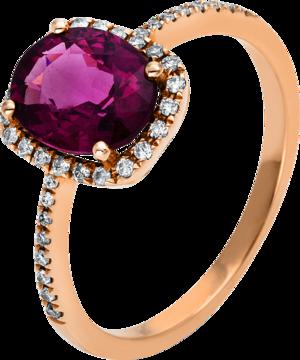 Ring Brogle Selection Felicity aus 750 Roségold mit 38 Brillanten (0,18 Karat) und 1 Rhodolit