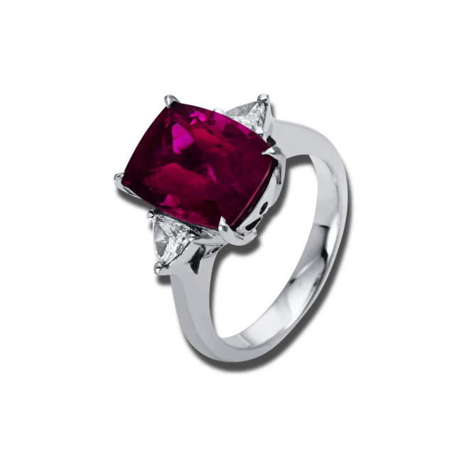 Ring Brogle Selection Felicity aus 950 Platin mit 2 Diamanten (0,33 Karat) und 1 Rubellit bei Brogle