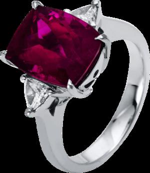 Ring Brogle Selection Felicity aus 950 Platin mit 2 Diamanten (0,33 Karat) und 1 Rubellit