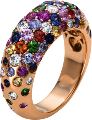 Ring Brogle Selection Felicity aus 750 Roségold mit 18 Brillanten (0,57 Karat) und 41 Saphiren