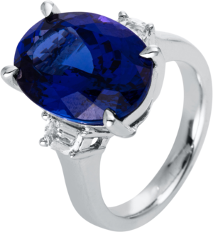 Ring Brogle Selection Felicity aus 750 Weißgold mit 2 Diamanten (0,42 Karat) und 1 Tansanit