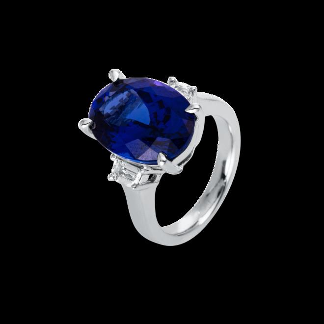 Ring Brogle Selection Felicity aus 750 Weißgold mit 2 Diamanten (0,42 Karat) und 1 Tansanit bei Brogle