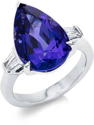 Ring Brogle Selection Felicity aus 750 Weißgold mit 4 Diamanten (0,28 Karat) und 1 Tansanit