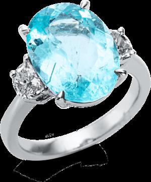 Ring Brogle Selection Felicity aus 750 Weißgold mit 2 Diamanten (0,48 Karat) und 1 Turmalin