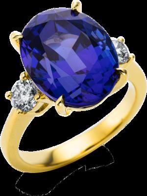 Ring Brogle Selection Felicity aus 750 Gelbgold mit 2 Brillanten (0,61 Karat) und 1 Tansanit