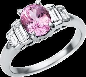 Ring Brogle Selection Felicity aus 900 Platin mit 4 Diamanten (0,68 Karat) und 1 Saphir