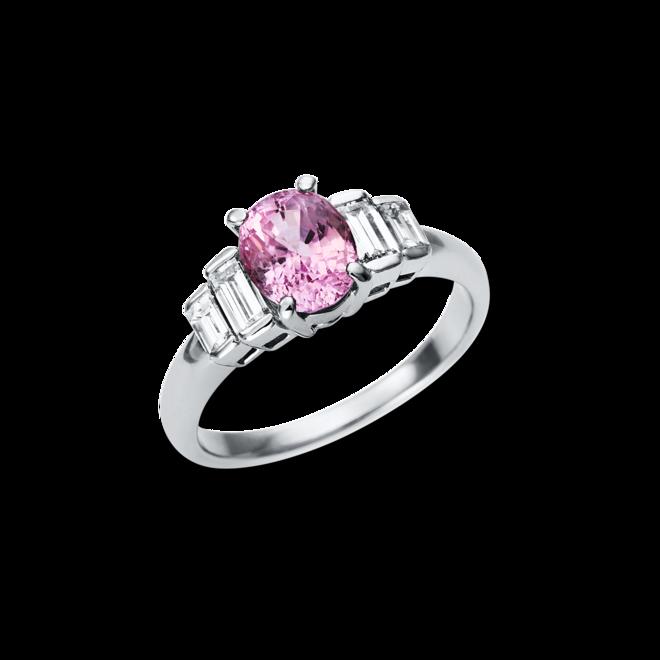 Ring Brogle Selection Felicity aus 900 Platin mit 4 Diamanten (0,68 Karat) und 1 Saphir bei Brogle