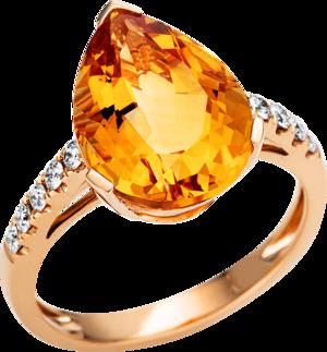 Ring Brogle Selection Felicity aus 750 Roségold mit 10 Brillanten (0,21 Karat) und 1 Citrin
