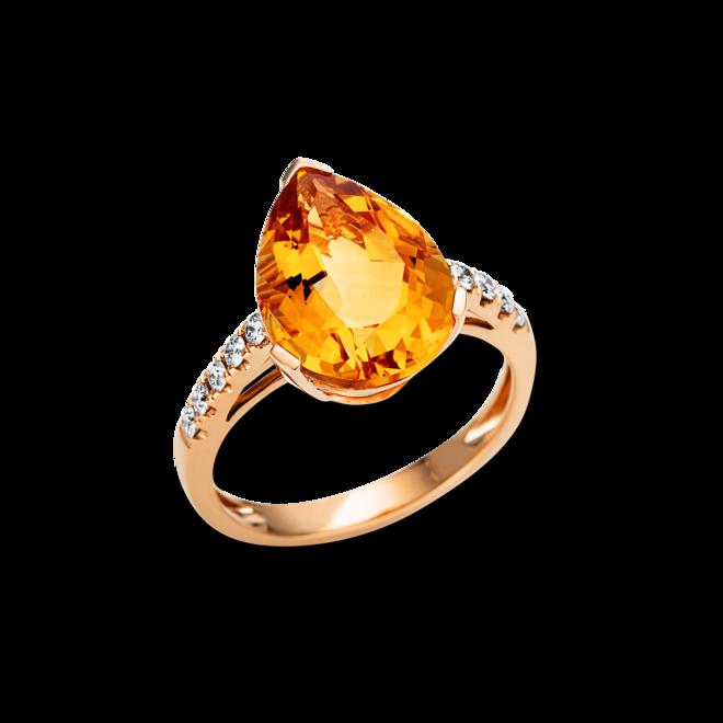 Ring Brogle Selection Felicity aus 750 Roségold mit 10 Brillanten (0,21 Karat) und 1 Citrin bei Brogle