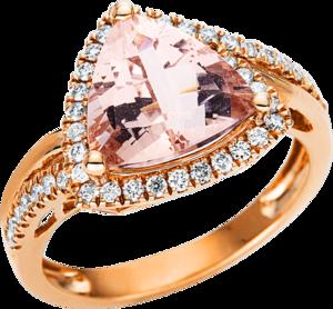 Ring Brogle Selection Felicity aus 585 Roségold mit 43 Brillanten (0,33 Karat) und 1 Morganit