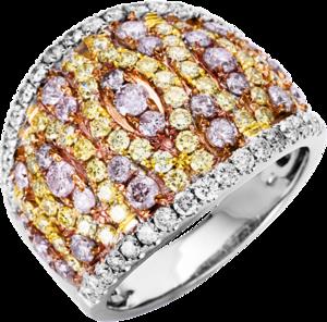 Ring Brogle Selection Felicity aus 585 Weißgold, 585 Gelbgold und 585 Roségold mit 117 Brillanten (2,35 Karat)