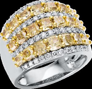 Ring Brogle Selection Felicity aus 585 Weißgold und 585 Gelbgold mit 71 Brillanten (4,62 Karat)