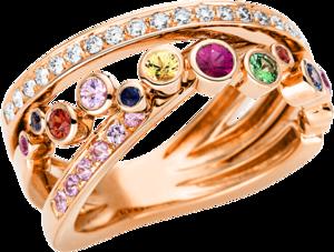 Ring Brogle Selection Felicity aus 750 Roségold mit 22 Brillanten (0,24 Karat) und 26 Saphiren
