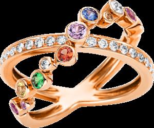 Ring Brogle Selection Felicity aus 750 Roségold mit 20 Brillanten (0,33 Karat) und 9 Saphiren