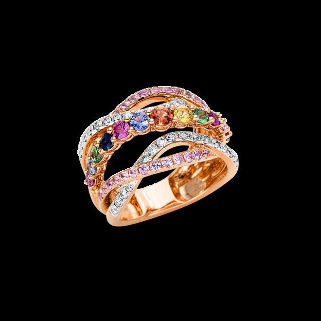 Ring Brogle Selection Felicity aus 750 Roségold und 750 Weißgold mit 34 Brillanten (0,55 Karat) und 45 Saphiren bei Brogle