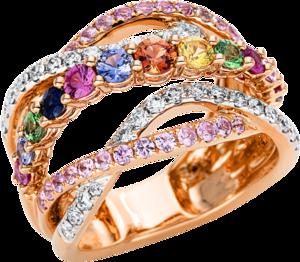 Ring Brogle Selection Felicity aus 750 Roségold und 750 Weißgold mit 34 Brillanten (0,55 Karat) und 45 Saphiren