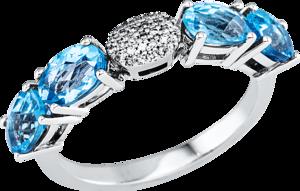 Ring Brogle Selection Felicity aus 750 Weißgold mit 29 Diamanten (0,07 Karat) und 4 Topasen