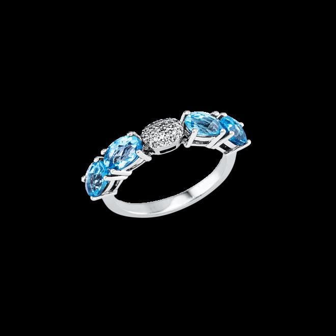 Ring Brogle Selection Felicity aus 750 Weißgold mit 29 Diamanten (0,07 Karat) und 4 Topasen bei Brogle