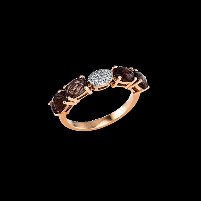 Ring Brogle Selection Felicity aus 750 Roségold mit 29 Diamanten (0,07 Karat) und 4 Rauchquarzen bei Brogle