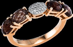 Ring Brogle Selection Felicity aus 750 Roségold mit 29 Diamanten (0,07 Karat) und 4 Rauchquarzen