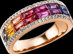 Ring Brogle Selection Felicity aus 750 Roségold mit 58 Brillanten (0,28 Karat) und 58 Saphiren