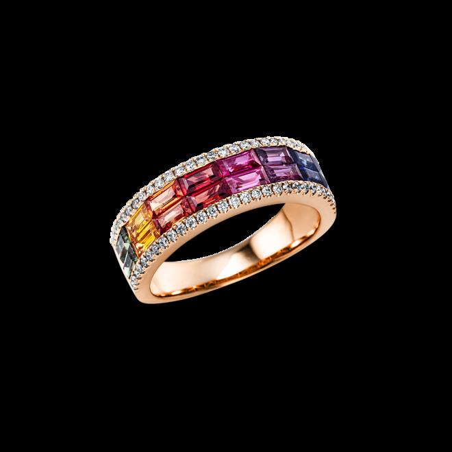Ring Brogle Selection Felicity aus 750 Roségold mit 58 Brillanten (0,28 Karat) und 58 Saphiren bei Brogle