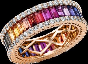 Ring Brogle Selection Felicity aus 750 Roségold mit 90 Brillanten (1,17 Karat) und 34 Saphiren