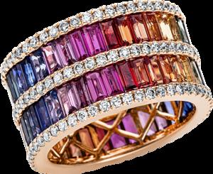 Ring Brogle Selection Felicity aus 750 Roségold mit 151 Brillanten (1,33 Karat) und 68 Saphiren